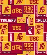 "USC TROJANS UNIVERSITY OF SO CALIFORNIA FLEECE FABRIC 1 YD 14"" END OF BOLT"