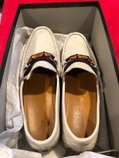 Gucci Men Loafers Leather white Moccasins Driving Shoes Sz 10.5