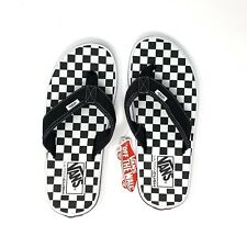 2bea2f76ebf0 Vans Checkerboard Flip Flop Sandals Black White Check Men s 10 New