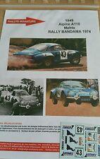DECALS 1/32 REF 1049 ALPINE RENAULT A110 METHA RALLYE BANDAMA 1974 RALLY WRC