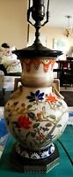 1800'S CHINESE CRACKLE GLAZE VASE MADE INTO LAMP ON METAL FILIGREE BASE & FINIAL