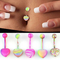EX_ ALS_ 5/10Pcs Women Multicolor Heart Coating Belly Ring Navel Piercing Jewelr