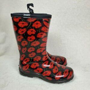 SLOGGERS Women's Waterproof Garden Rain Boot Black Red Flower Print US 6 NEW