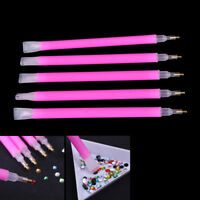 5Pcs/set Dual-ended Nail Art Rhinestone Gem Picker Pink Dotting Pen Manicur XG