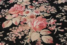 "French Antique Victorian 19thC Cabbage Rose Cotton Fabric~30""Lx33"" W~HomeDec"