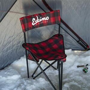 34779 New Plaid XL Eskimo Ice Fishing Gear Folding Chair With Carry Bag