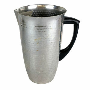 Vintage MCM Hammered Aluminum Pitcher w/ Ice Guard Spain MMM SA