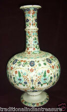 """12"""" White Marble Flower Vase Rare Inlay Marquetry Arts Collectible Decor Gifts"""