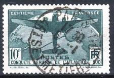 "FRANCE STAMP TIMBRE 321 "" TRAVERSEE ATLANTIQUE SUD 10F VERT "" OBLITERE TTB M822"
