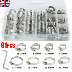 91 Pcs Assorted Stainless Steel Hose Clamp Kit With No Driver Jubilee Clips Set