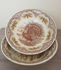 """NEW (2) The Victorian English Pottery Thanksgiving Turkey Salad Soup 9"""" Bowls"""