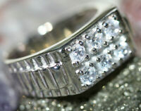 Classy Modern Men's Wide Cluster CZ Solid 925 Silver Gents Watch Ring Band Sz 11