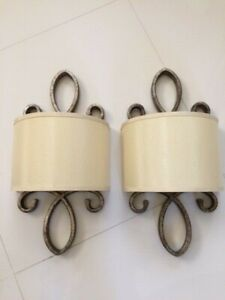 Two Wall Sconces Metal and Fabric Lights Pair