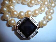 HOBE 15CT Onyx Rhinestone Big Clasp Necklace 8mm Majorca Pearls Vintage MINT
