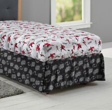 Incredibles Superhero Bed Skirt Full Double Disney Pixar Kids Black Gray New