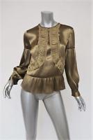 Dries Van Noten Blouse Carlysle Metallic Gold Silk-Blend Size 36 Long Sleeve Top