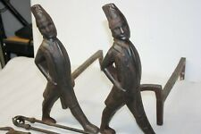 Vintage Pair Of Heavy Duty Hessian Soldier Fire Place Andirons & 3 Tools