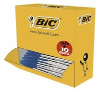 100 Penne BIC CRISTAL BLU a sfera  colore BLUE punta  da 1 MM - 1 Confezione