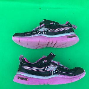 Skechers girl's fashion black running walking leather shoes size--11