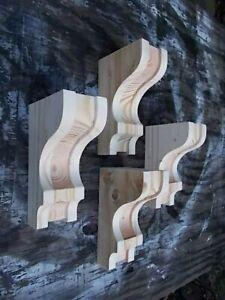 Lot of FOUR (4) Wood Corbels Shelf Mantle Support Brackets (#2905R)