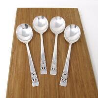 Oneida Community CORONATION Silverplate Set of 4 Gumbo Soup Spoons Round Lot
