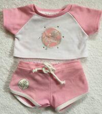 Build A Bear MLB New York Yankees Pink White T-shirt Shorts Lot Clothing Tee Set