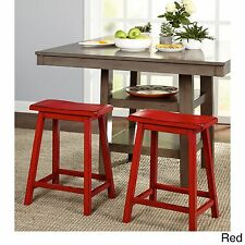 Saddle Seat Stool 24 In Counter Bar Stools Backless Wood Chair Set Of 2 RED
