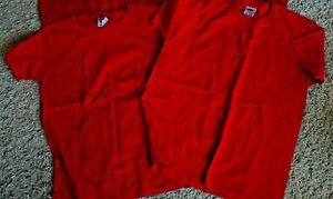 2 Girls School PE Tops Uniform Red Age 9-11