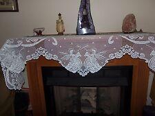 "Ivory lace Angel design Mantel Scarf  20"" x 95"""