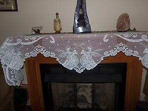 "Lace Mantel Scarf Ivory Angel design  20"" x 95"""