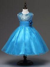 Wedding Glitter Sequin Tulle Flower girl Dress Toddler Bridesmaid Easter K101