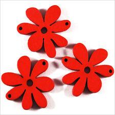 Lot de 10 Fleurs Perles en Bois 25mm Rouge