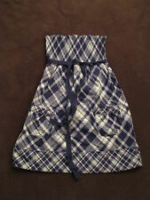 NWT Women Abercrombie Fitch Blue Plaid Dress Sundress Cotton Woven Dress sz M L