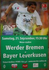 Spielplakat - 21.09.2002 - Werder Bremen vs. Bayer Leverkusen + Sammler +