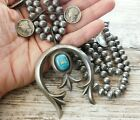 Vtg Old Pawn NAVAJO Sterling COIN Silver TURQUOISE Squash Blossom Bead Necklace