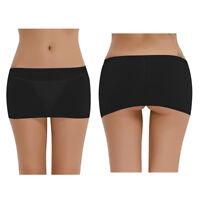 Mini Rock Damen Sexy Stretch Minirock Kurz Transparent Clubwear Lingerie Schwarz