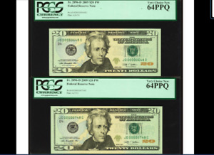 2 CONS. PCGS 64 & 64 THREE DIGIT SERIAL NUMBER 648 & 748 Fort Worth 2009 $20