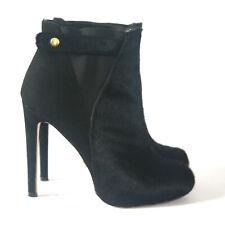 Size 7 - VICTORIA SECRET Women's Black Cowhide Super High Heel Ankle Booties