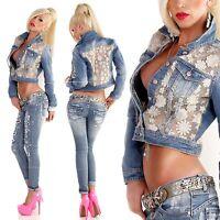 New Women Clubbing Denim Dip Dye Coat Ladies Blue Jeans Jacket Size 8 10 12 14