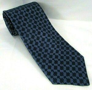 "PAUL STUART Mens Silk Tie Diamond Micro Check Grid 3.75""x 57 Blue SPAIN"