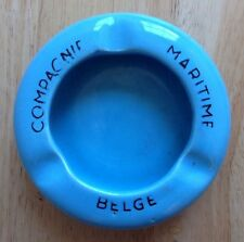 1930s - 1950s COMPAGNIE MARITIME BELGE CRUISE SHIP LINES ASHTRAY, BLUE POTTERY