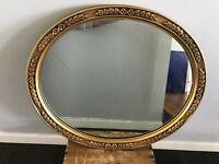 "Vtg Mid Century Ornate Oval Gold Plastic Hollywood Regency Wall Mirror 25"" X 21"""