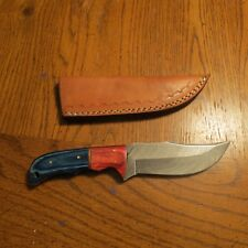 Large Damascus hunting knife w/two tone wood handle & leather sheath hand made