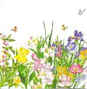 M002# 3 x Single Paper Napkins For Decoupage Craft Tissue Meadow Iris Flowers
