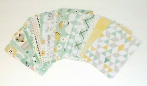 """24 3x4"""" Project Life Cards For Scrapbooking Or Journal, Mint green, Lemon Floral"""