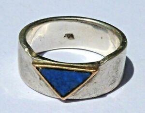 Breiter Herren Ring 925 Silber 14K Gold -Einfassung Lapis Lapislazuli Herrenring