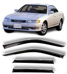 Chrome Trim Window Visors Guard Vent Deflectors For Toyota Mark II X90 1992-1996