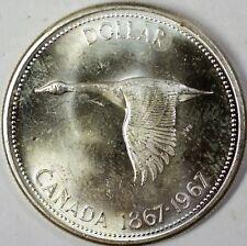 1967 Canada Goose Comm Brilliant Uncirculated Silver Dollar $1 Centennial Coin