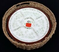 Temp-Tations Floral Lace Divided Serving Dish Appetizer Tray Basket 13 Inch NEW