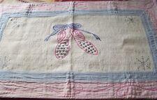 Rug Ballerina Slippers Pink Bllue  37 x 22 100% Cotton RN 61774 India Woven